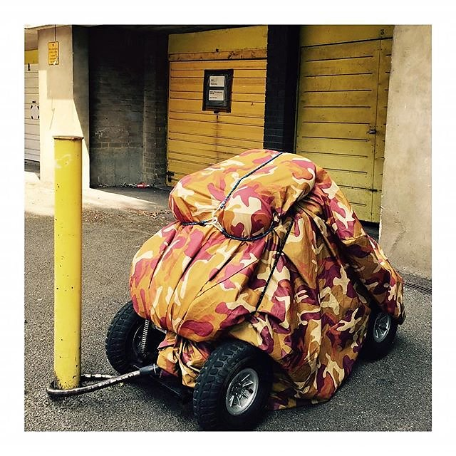 Camouflaged & coordinated.. #mobilityscooter .