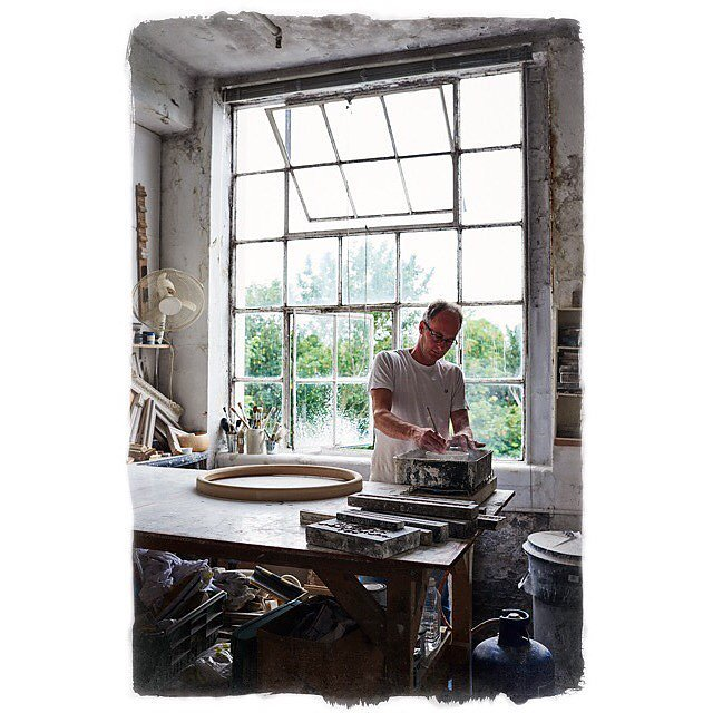 Jon Reid of Gesso at work in his studio for @reidandwright preparing to paint gesso onto one of the beautiful bespoke frames he makes for Reid and Wright's stunning mirrors.... #convexmirror #gesso #reidandwright