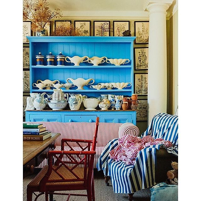 Charlie's flower room featured in @nzhouseandgarden this month @mccormickcharlie @benpentreath #fulhampottery #stripes .